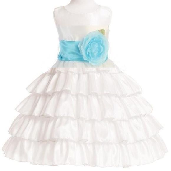 3bf2d366ed7 Flower Girl Dress White   Tiffany Blue Layered 3T